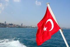 Bandeira turca - crescente branco Fotografia de Stock