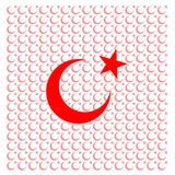 Bandeira turca no fundo branco, e bandeiras turcas pequenas, Ásia, geográfica Fotografia de Stock Royalty Free