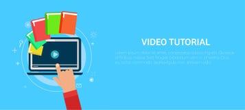 Bandeira tutorial video Pressão de mão um computador Fotos de Stock Royalty Free