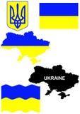Bandeira ucraniana na ilustração do mapa do país Fotos de Stock Royalty Free