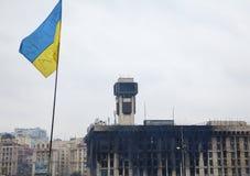 Bandeira ucraniana no quadrado de Maidan (independência) em Kiev Imagem de Stock