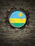 Bandeira velha de Republic of Rwanda na parede de tijolo Imagem de Stock