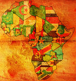 Bandeira velha do mapa de África Imagens de Stock Royalty Free