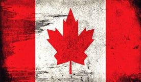 Bandeira velha do vintage de Canadá A textura da arte pintou a bandeira nacional de Canadá ilustração do vetor