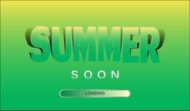 Bandeira verde-amarela engraçada com o VERÃO da inscrição logo Vetor Fotos de Stock Royalty Free