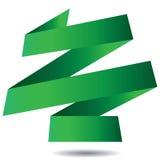 Bandeira verde da fita do origâmi isolada no fundo branco Imagens de Stock