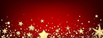 Bandeira vermelha com estrelas do ouro Fotografia de Stock