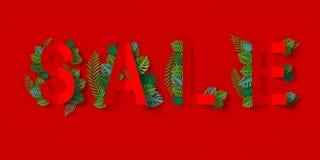 A bandeira vermelha da venda com corte e verde do papel deixa ao ofício de papel a rendição 3d floral, com o trajeto de grampeame foto de stock royalty free