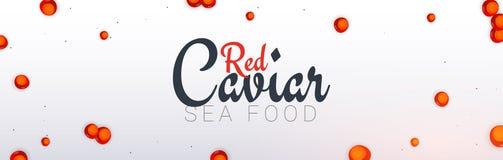 Bandeira vermelha do caviar Fundo delicioso do marisco Ilustração do vetor do caviar Alimento luxuoso natural e saudável Projeto  ilustração do vetor