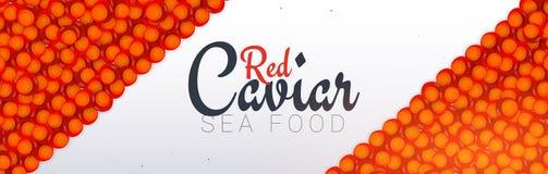 Bandeira vermelha do caviar Fundo delicioso do marisco Ilustração do vetor do caviar Alimento luxuoso natural e saudável Projeto  ilustração royalty free