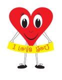 Bandeira vermelha do coração e do amor Imagens de Stock Royalty Free