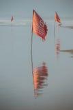 A bandeira vermelha proibe nadar Fotos de Stock Royalty Free