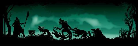 Bandeira Witching de Dia das Bruxas ilustração do vetor
