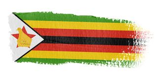 Bandeira Zimbabwe do Brushstroke Fotos de Stock