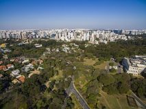 Bandeirantes pałac, rząd stan Sao Paulo, w Morumbi sąsiedztwie, Brazylia obraz stock