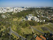 Bandeirantes Palace, Government of the State of Sao Paulo, in the Morumbi neighborhood, Brazil. South AmericanPhoto drone: 07/15/2018 royalty free stock images
