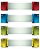 bandeiras 3d com teclas e vidro. Fotografia de Stock Royalty Free