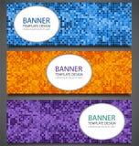 Bandeiras abstratas ajustadas com fundo colorido do pixel Molde do projeto do convite do partido Vetor ilustração stock