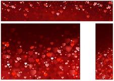 Bandeiras abstratas dos corações vermelhos brilhantes Fotos de Stock Royalty Free