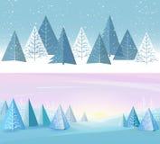 Bandeiras ajustadas com fundo liso da floresta Desenho do ` s das crianças Paisagem simples e bonito para seu projeto ilustração royalty free