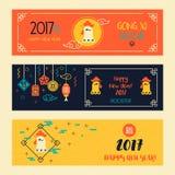 Bandeiras ajustadas com o galo chinês linear do ano novo Foto de Stock Royalty Free