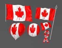 Bandeiras ajustadas de simbólico nacional de Canadá Fotografia de Stock