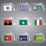 Bandeiras ajustadas do mundo Imagem de Stock