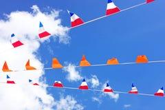 Bandeiras alaranjadas, comemorando o dia dos reis em Países Baixos Imagens de Stock Royalty Free