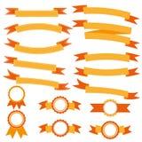 Bandeiras alaranjadas da fita da coleção Fotos de Stock Royalty Free