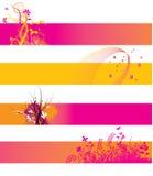 Bandeiras alaranjadas e cor-de-rosa Imagem de Stock