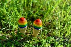 Bandeiras alegres da cor do arco-?ris LGBT nos ovos fotografia de stock royalty free