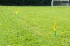 Bandeiras amarelas na grama verde de um campo de ação do futebol Imagens de Stock Royalty Free