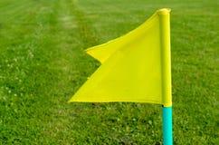Bandeiras amarelas na grama verde de um campo de ação do futebol Fotografia de Stock
