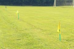 Bandeiras amarelas na grama verde de um campo de ação do futebol Foto de Stock