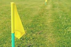 Bandeiras amarelas na grama verde de um campo de ação do futebol Fotos de Stock Royalty Free