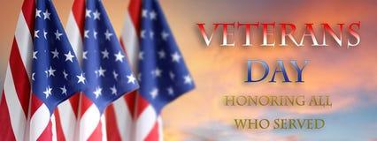 Bandeiras americanas de dia de veteranos fotos de stock
