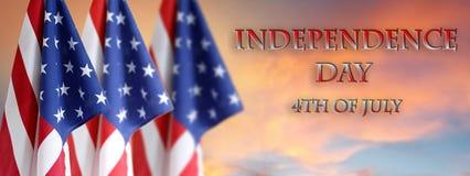 Bandeiras americanas do Dia da Independência Foto de Stock Royalty Free
