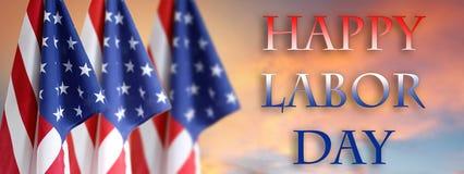 Bandeiras americanas do Dia do Trabalhador imagem de stock royalty free