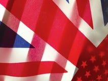 Bandeiras americanas e britânicas Fotografia de Stock