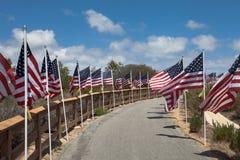Bandeiras americanas Memorial Day, Dia da Independência e dia de veteranos Imagens de Stock
