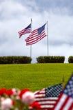 Bandeiras americanas no cemitério nacional do Estados Unidos Fotos de Stock Royalty Free