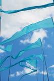 Bandeiras azuis fotografia de stock