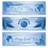Bandeiras azuis ajustadas para o Dia da Terra 22 de abril Imagens de Stock Royalty Free