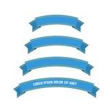Bandeiras azuis da fita da Web ajustadas Foto de Stock