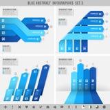 Bandeiras azuis 3 do infographics Fotografia de Stock Royalty Free