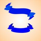 Bandeiras azuis do vetor sob a forma das fitas para o texto Fotografia de Stock Royalty Free