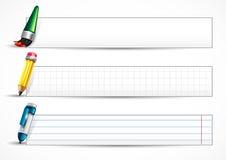 Bandeiras brancas com pena e lápis Ilustração Stock