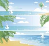 Bandeiras brilhantes do beira-mar no vetor Imagens de Stock Royalty Free