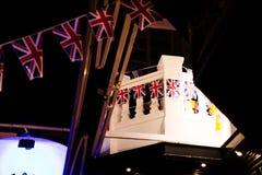 Bandeiras britânicas na rua Imagens de Stock
