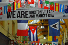Bandeiras, Brixton Village, Londres sul, Inglaterra Fotos de Stock Royalty Free